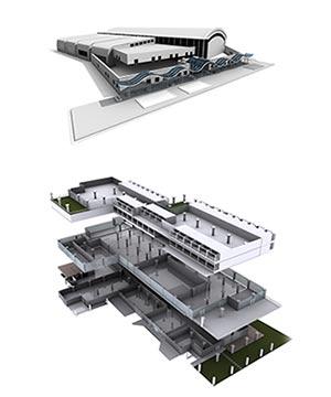 3D vizualizace montované haly