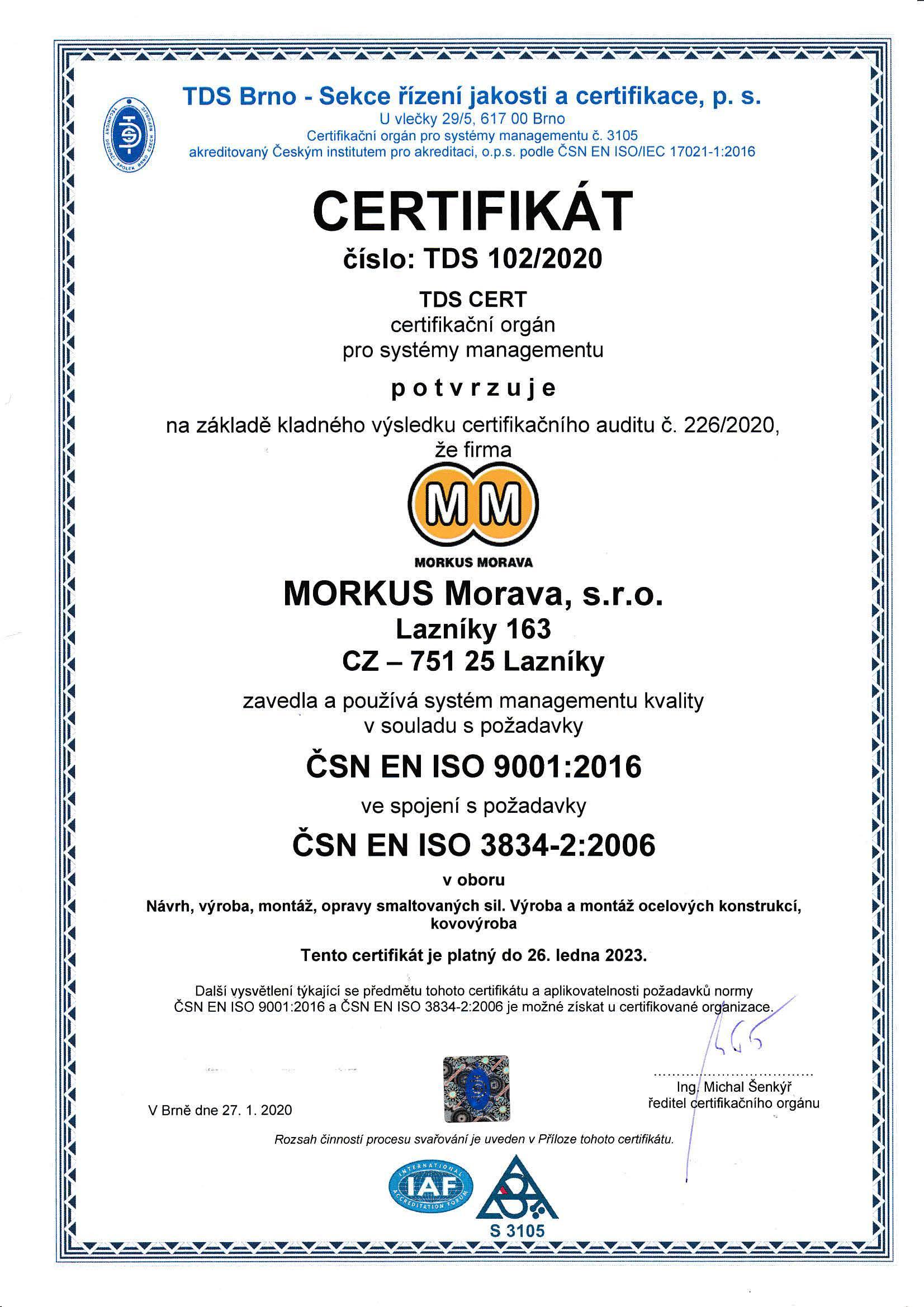 Certifikát CZ 01