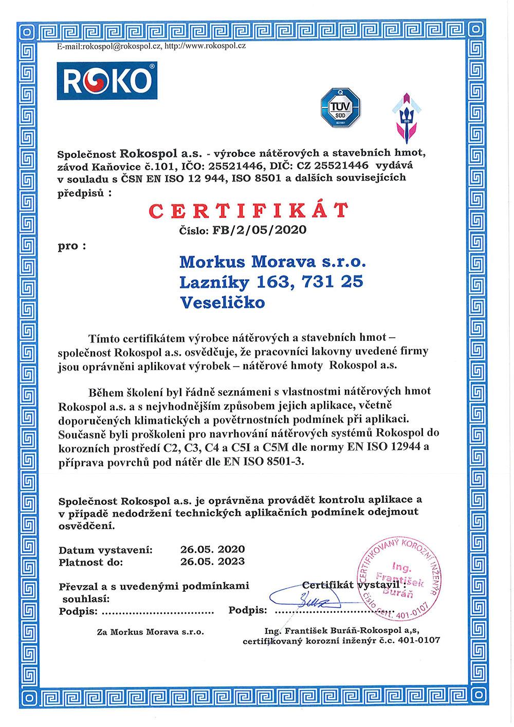 Certifikát pro nátěrové hmoty